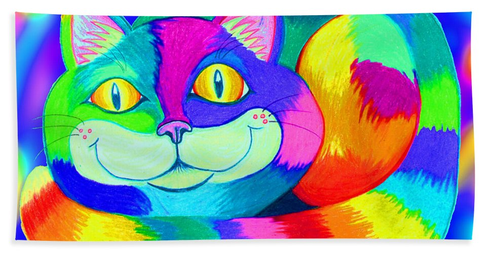 Cat Beach Towel featuring the digital art Colorful Crazy Cat by Nick Gustafson