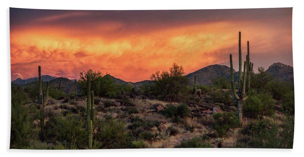 Saguaro Sunset Beach Towel featuring the photograph Colorful Desert Skies At Sunset by Saija Lehtonen