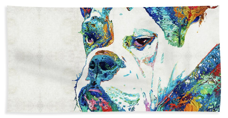 Bulldog Beach Towel featuring the painting Colorful English Bulldog Art By Sharon Cummings by Sharon Cummings