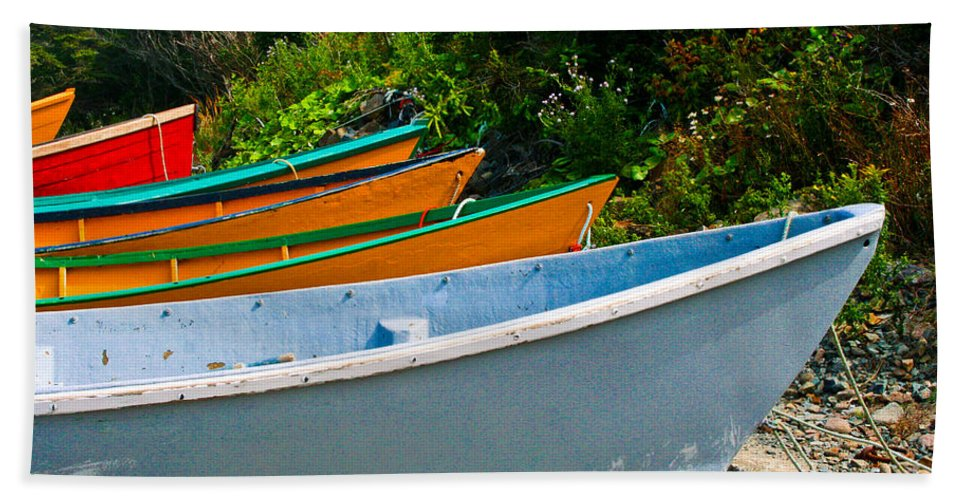 Fishing Beach Towel featuring the photograph Colorful Fishing Boats On A Rocky Shore Grand Manan by Thomas Marchessault