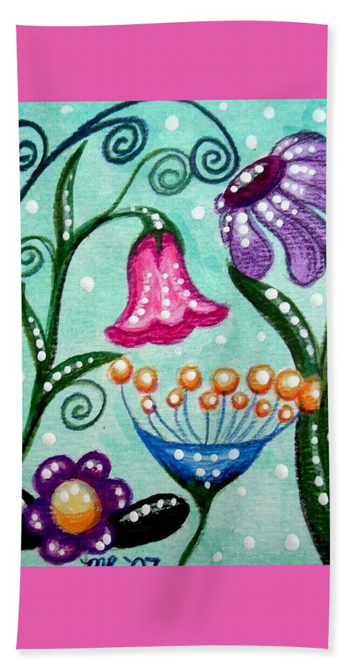Floral Beach Towel featuring the painting Colorful Flowers by Monica Resinger