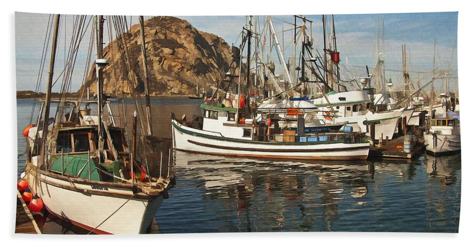 Morro Bay Beach Towel featuring the digital art Colorful Harbor by Sharon Foster