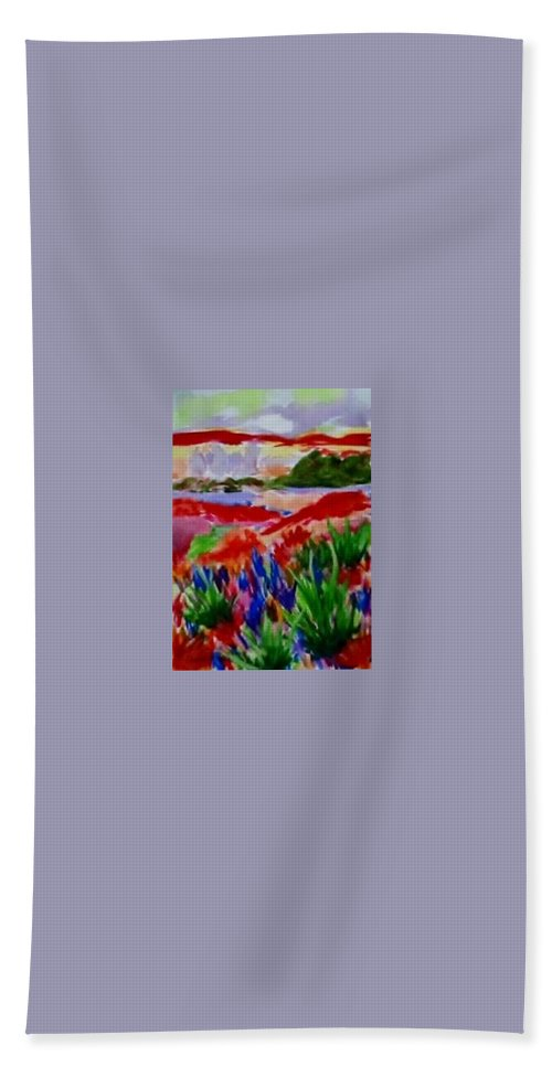 Red Beach Towel featuring the painting Colorful by Jamie Frier