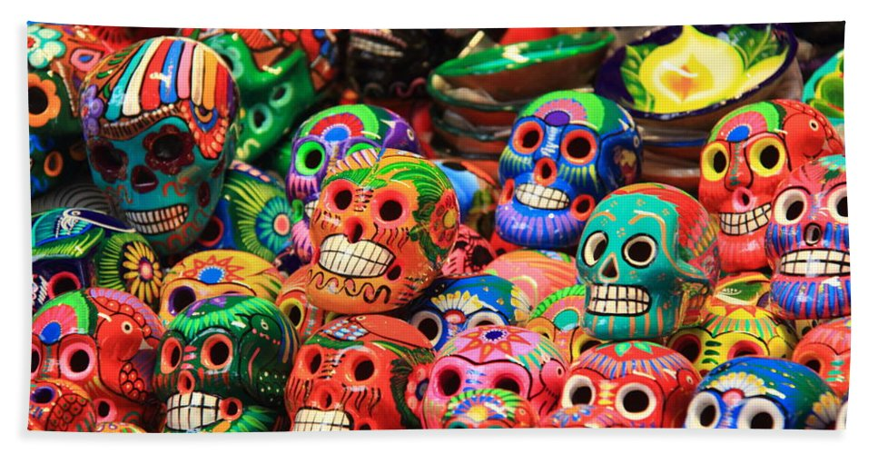 colorful mexican day of the dean ceramic skulls beach sheet for sale