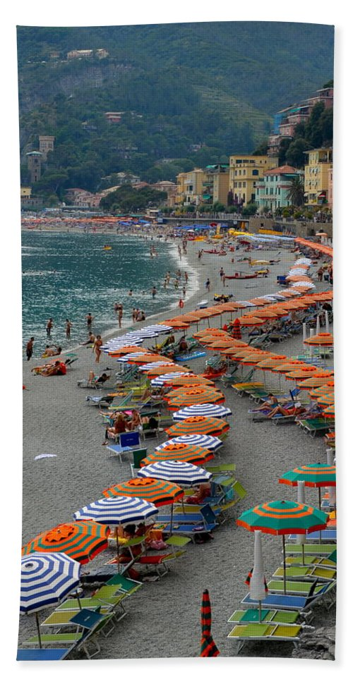Monterosso Beach Towel featuring the photograph Colorful Monterosso by Corinne Rhode