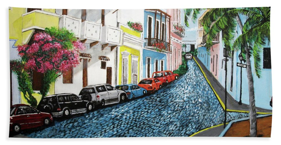 Old San Juan Beach Towel featuring the painting Colorful Old San Juan by Luis F Rodriguez