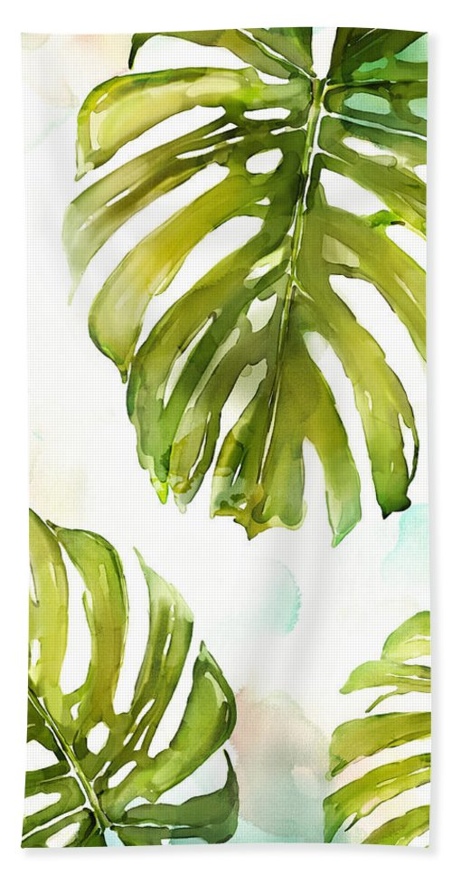 Watercolor Beach Towel featuring the painting Colorful Palm by Mauro DeVereaux