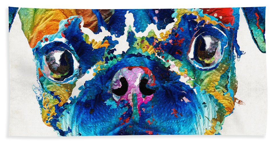 Pug Beach Sheet featuring the painting Colorful Pug Art - Smug Pug - By Sharon Cummings by Sharon Cummings