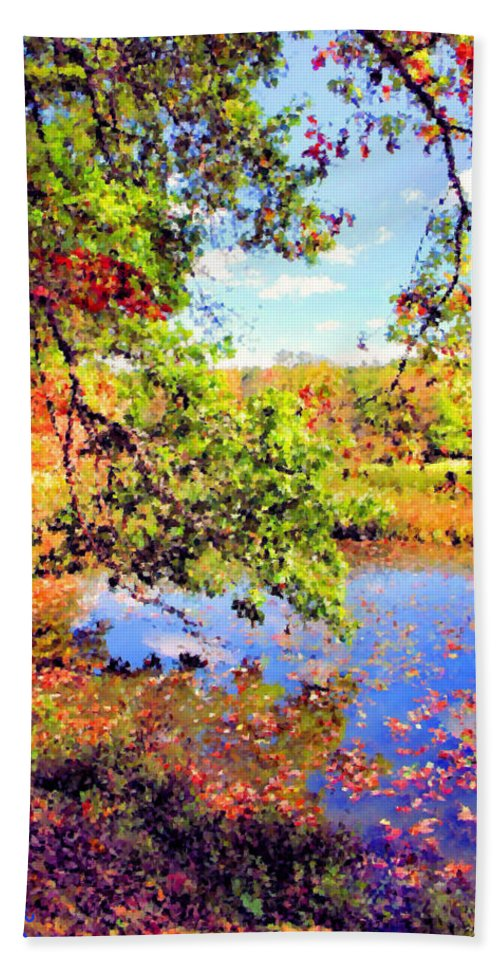 Virginia Kendall Park Beach Towel featuring the photograph Colorful Reflections by Kristin Elmquist