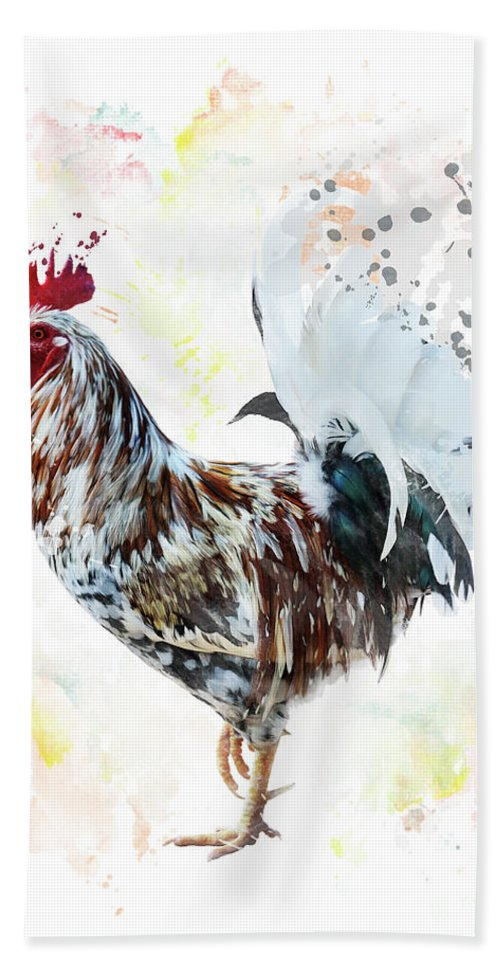 Rooster Beach Towel featuring the digital art Colorful Rooster by Svetlana Foote