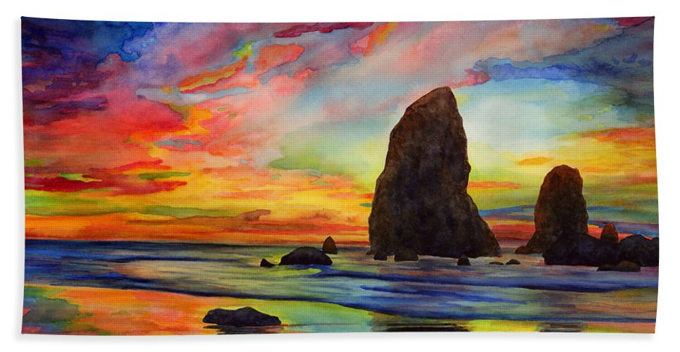 Sunset Beach Towel featuring the painting Colorful Solitude by Hailey E Herrera