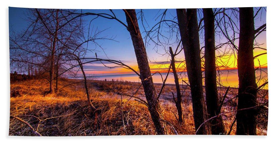 Sunrise Beach Towel featuring the photograph Colorful Sunrise by Randy Kostichka