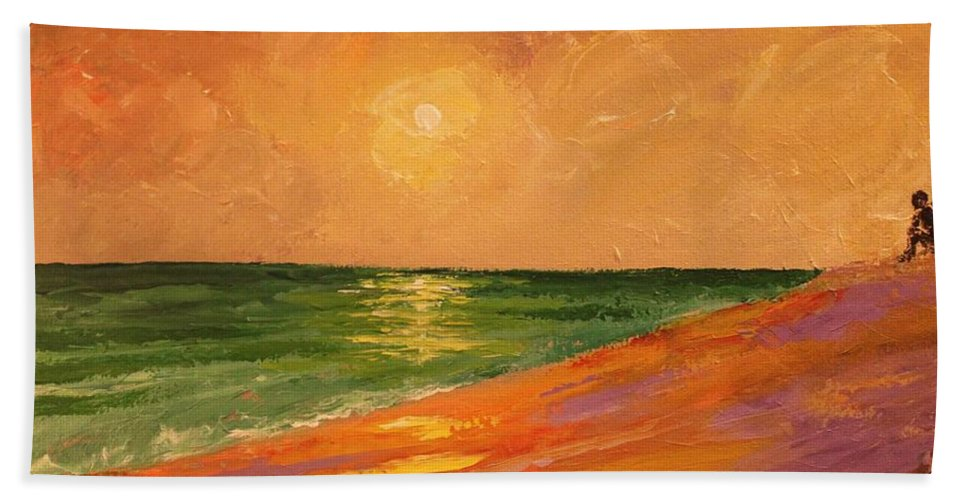 Colorful Beach Towel featuring the painting Colorful Sunset by Angel Reyes