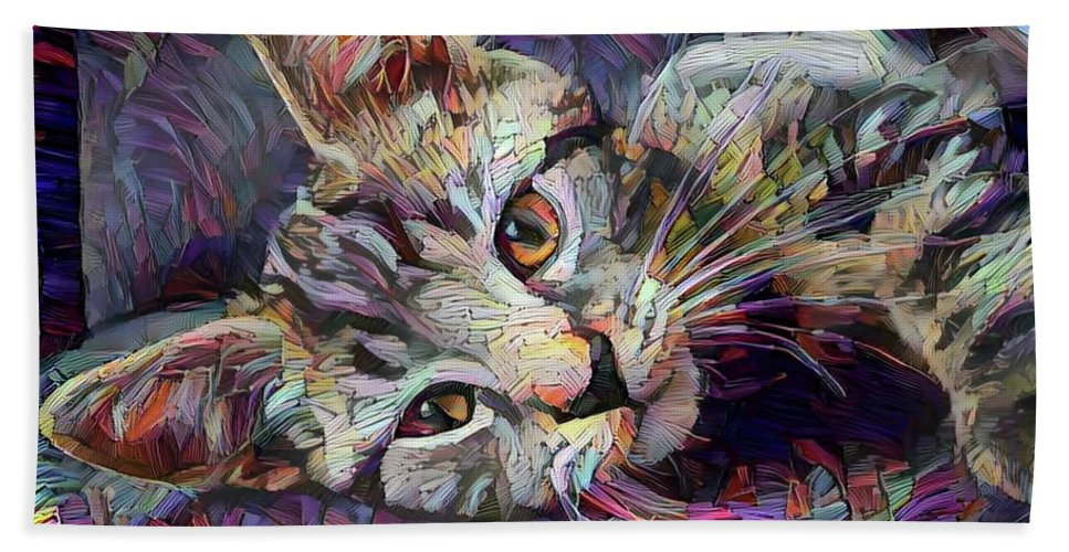 Tabby Cat Beach Towel featuring the digital art Colorful Tabby Kitten by Peggy Collins