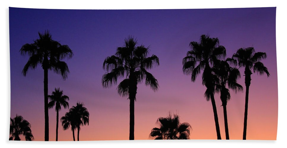 Sunsets Beach Towel featuring the photograph Colorful Tropical Palm Tree Sunset by James BO Insogna