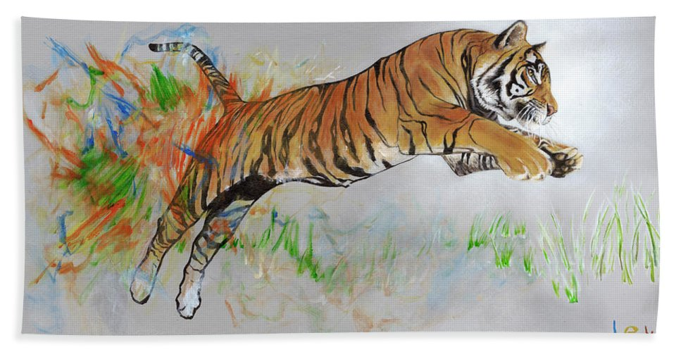 Tiger Beach Towel featuring the painting Coloring In The Lines by LE Williams