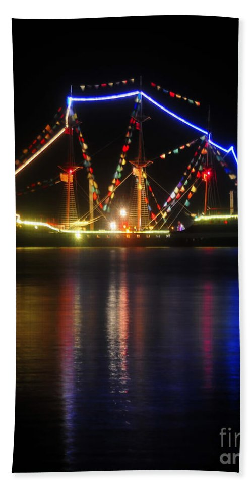 Gasparilla Pirate Fest Beach Towel featuring the photograph Colors Of Gasparilla by David Lee Thompson