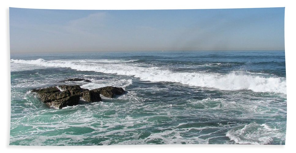 Seascape Beach Towel featuring the photograph Colors Of The Sea by Carol Bradley
