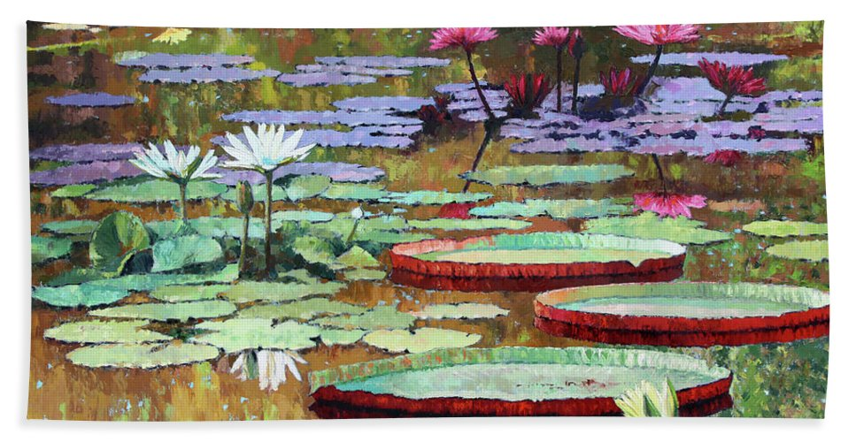 Garden Pond Beach Towel featuring the painting Colors on the Lily Pond by John Lautermilch