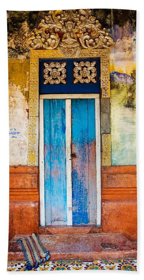 Cambodia Beach Towel featuring the photograph Colourful Door by Dave Bowman