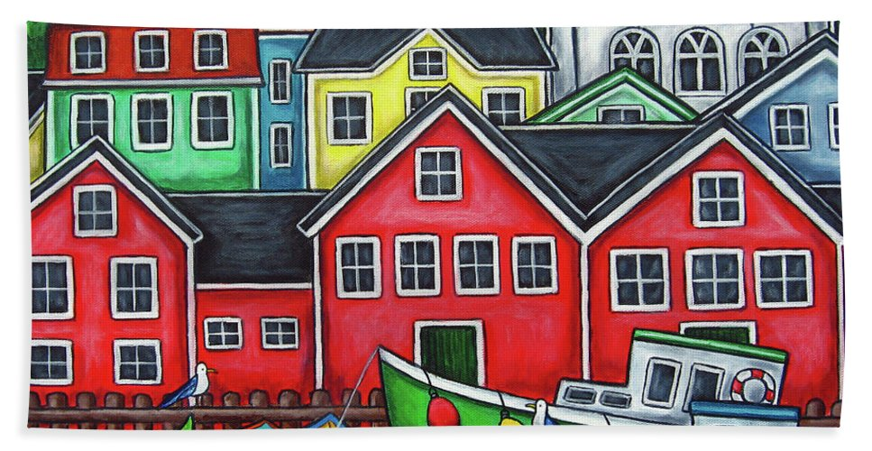 Nova Scotia Beach Towel featuring the painting Colours of Lunenburg by Lisa Lorenz