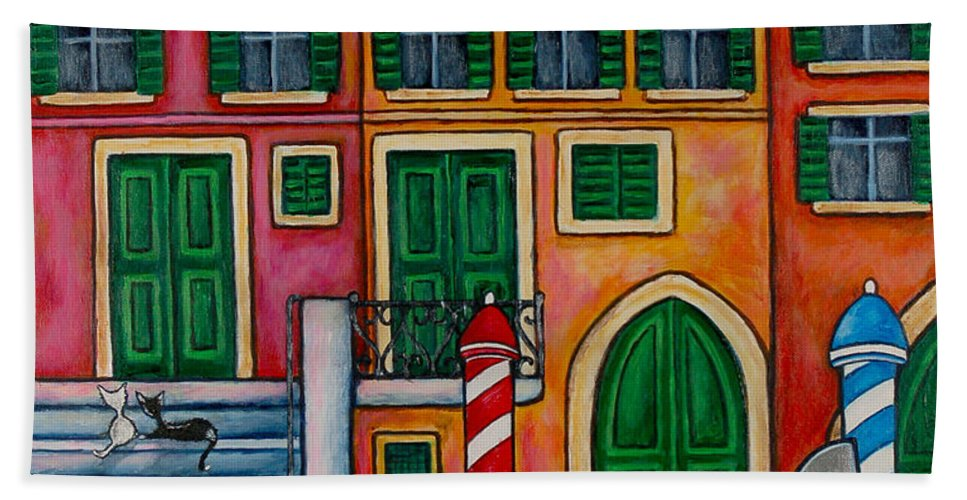 Venice Beach Towel featuring the painting Colours of Venice by Lisa Lorenz