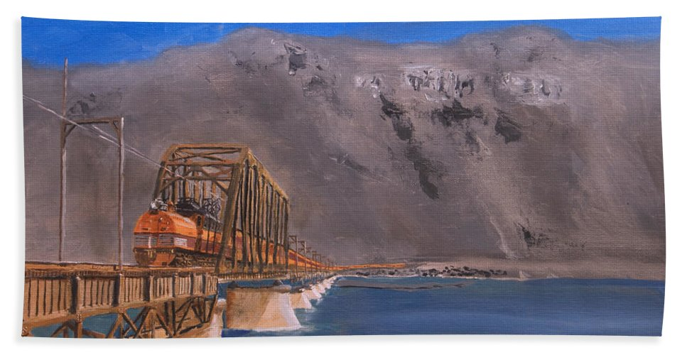 Train Beach Towel featuring the painting Columbia Crossing by Christopher Jenkins
