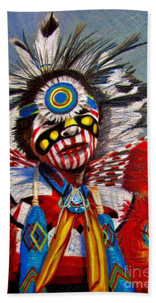 Comanche Dance Beach Towel featuring the drawing Comanche Dance by Marilyn Smith