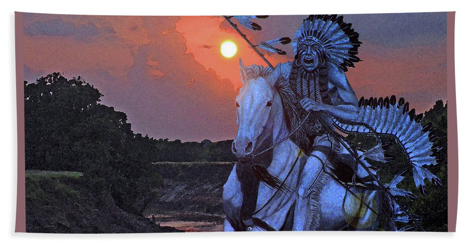 Quanah Parker Beach Towel featuring the painting Comanche Spirit by Russell Cushman