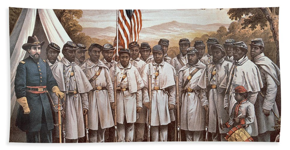 Recruitment; American Civil War; Volunteer; Soldiers; Soldier; Army; Uniform; Flag; Stars And Stripes; General; Drummer; Negro; African-american; Us; Usa; Recruiting; Advertisement; Advert; Propaganda; African American Beach Towel featuring the painting 'come And Join Us Brothers' by American School