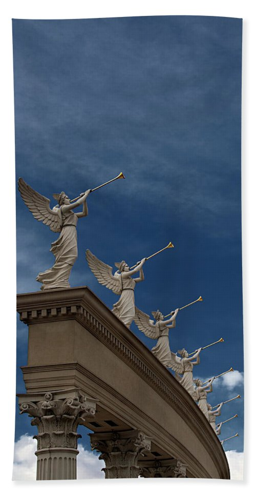 Angel Beach Towel featuring the photograph Come Blow Your Horn - Angels And Trumpets - Caesars Palace Las Vegas by Mitch Spence