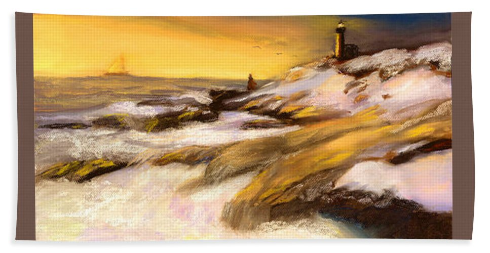 Seascape Beach Towel featuring the painting Come Home by Gail Kirtz