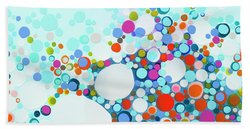 Abstract Beach Towel featuring the painting Comfortable In Chaos by Claire Desjardins