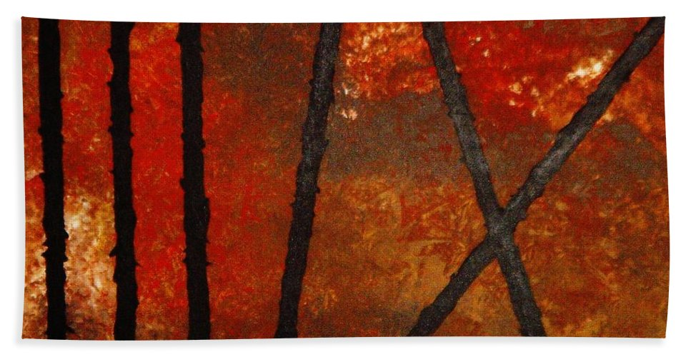 Original Abstract Acrylic Beach Towel featuring the painting Coming Apart by Todd Hoover