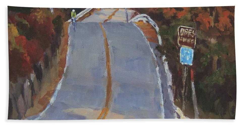 Art Beach Towel featuring the painting Coming Off Orr's Island - Art By Bill Tomsa by Bill Tomsa