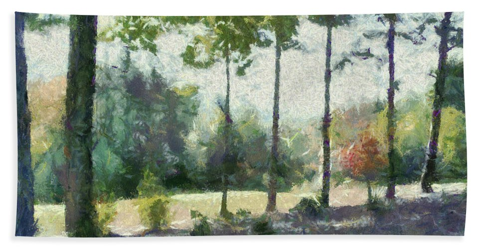 Homestead Beach Towel featuring the painting Coming Out Of The Woods by Paulette B Wright