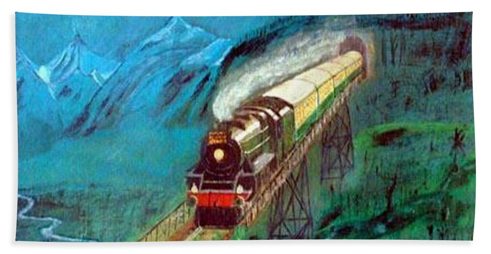 Trains Beach Towel featuring the painting Coming Through The Tunnel by Richard Le Page