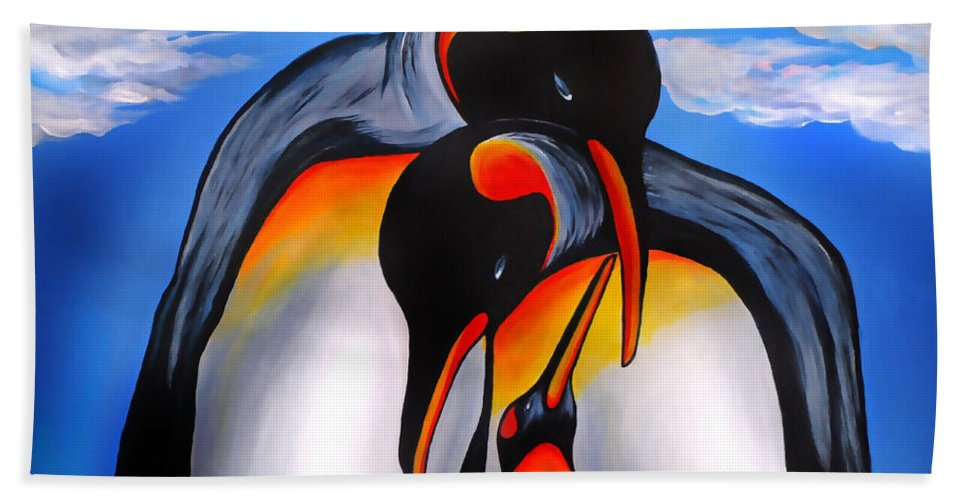 King Penguin Beach Towel featuring the painting Commitment by Adele Moscaritolo