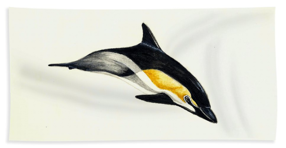 Dolphin Beach Towel featuring the painting Common Dolphin by Michael Vigliotti
