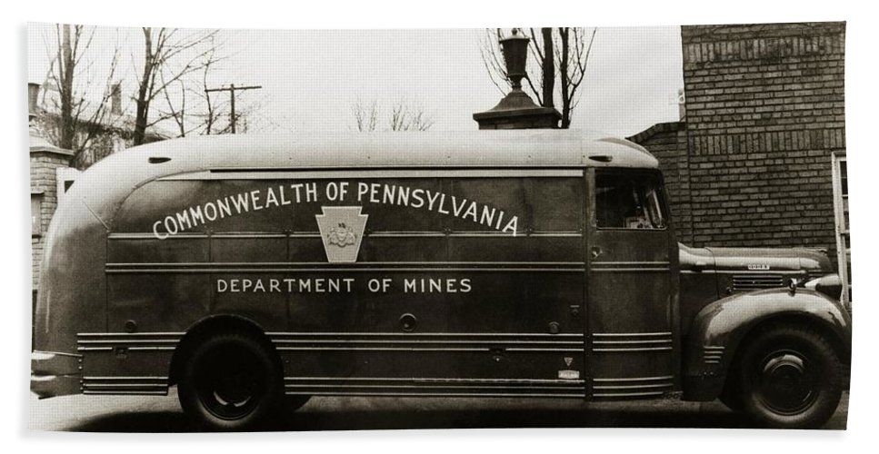 Coal Mine Beach Towel featuring the photograph Commonwealth Of Pennsylvania Coal Mine Rescue Truck 1947 by Arthur Miller