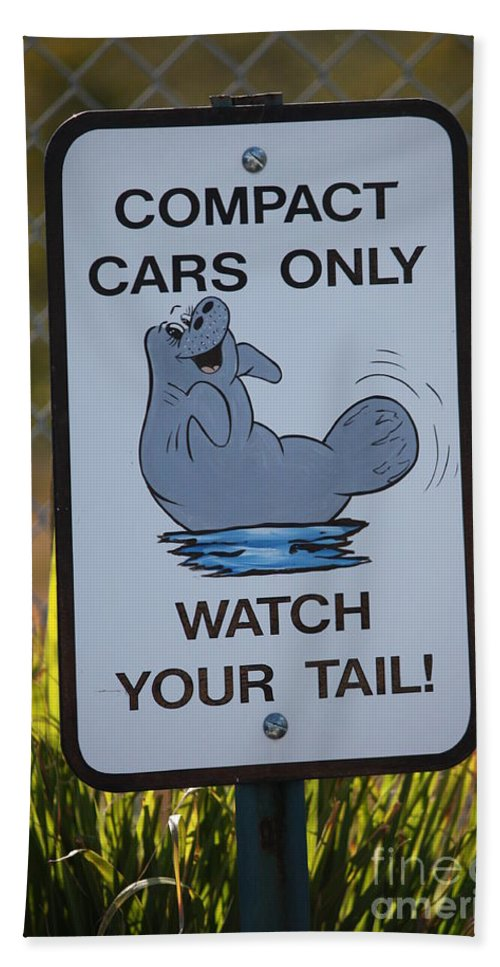 Beach Towel featuring the photograph Compact Cars Only Sign by Carol Groenen