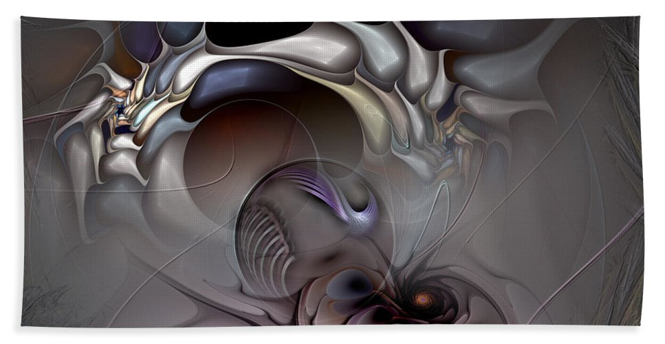 Abstract Beach Towel featuring the digital art Compartmentalized Delusion by Casey Kotas