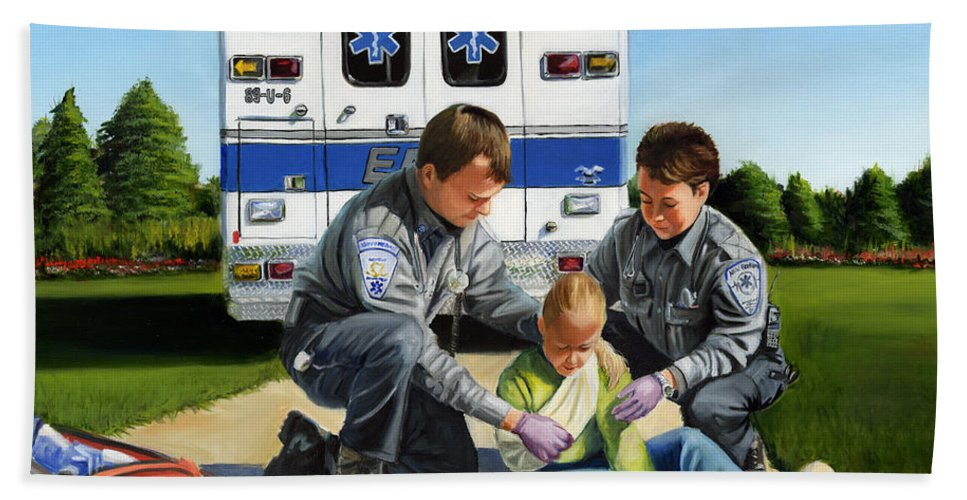 Ems Beach Towel featuring the painting Compassion by Paul Walsh