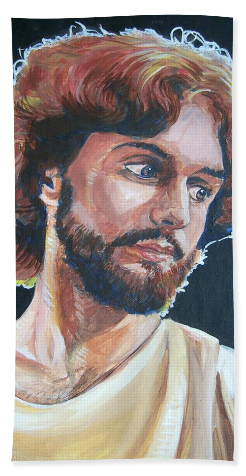 Jesus Christ Beach Towel featuring the painting Compassionate Christ by Bryan Bustard