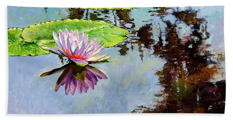 Water Lily Beach Towel featuring the painting Composition Of Beauty by John Lautermilch