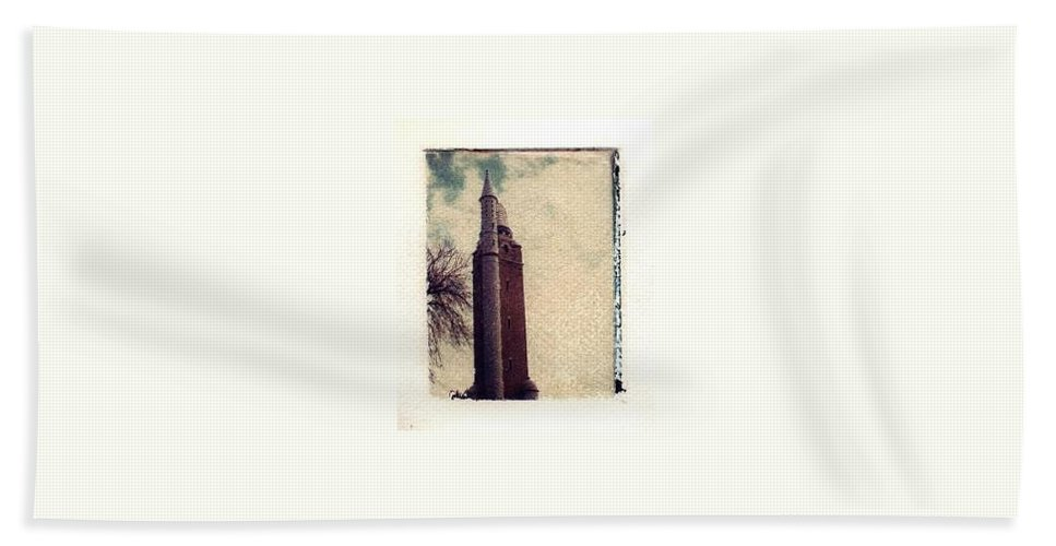 Polaroid Transfer Beach Towel featuring the photograph Compton Water Tower by Jane Linders