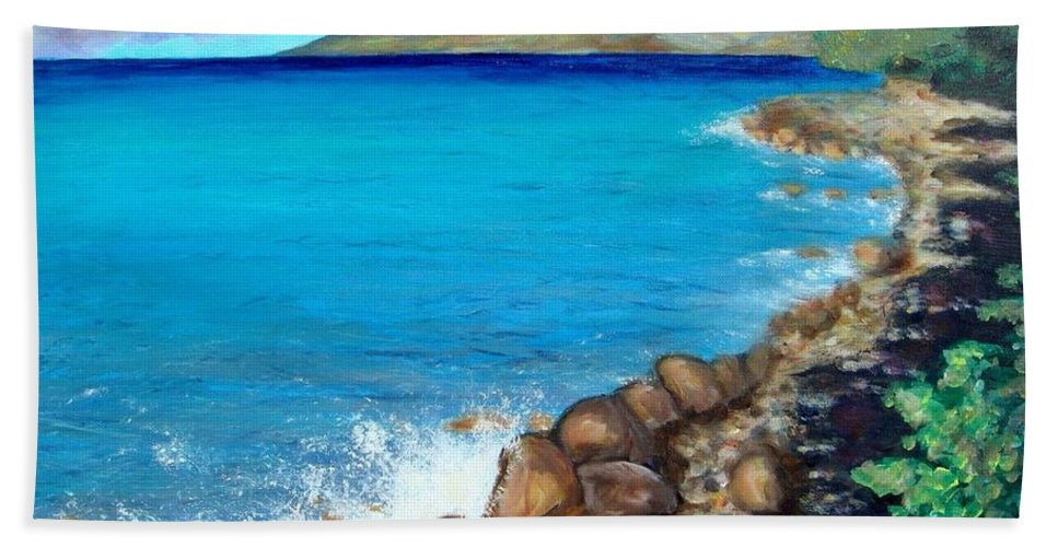 Water Beach Towel featuring the painting Concealed Crustacean by Laurie Morgan