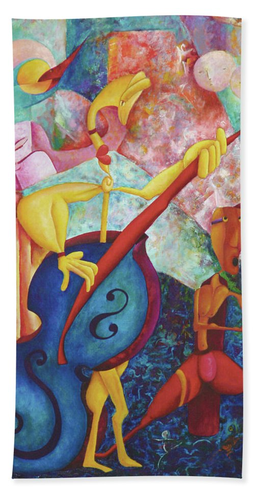 Playful Beach Towel featuring the painting Concerto For Dingo And Tiki God by David Derr