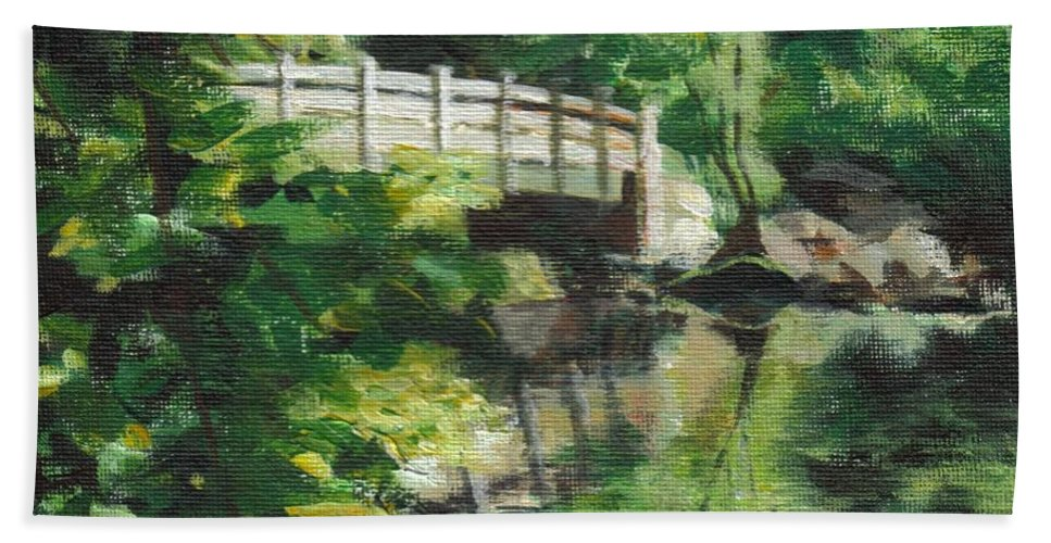 Concord Beach Towel featuring the painting Concord River Bridge by Claire Gagnon