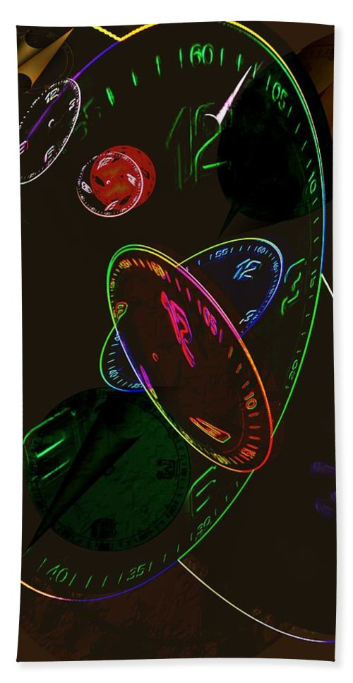 Clocks Beach Towel featuring the digital art Concurrent Clocks by Helmut Rottler
